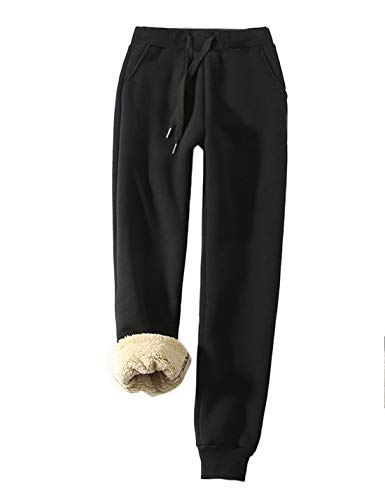 Yeokou Women's Warm Sherpa Lined Athletic Sweatpants Jogger Fleece Pants (Medium, Black)