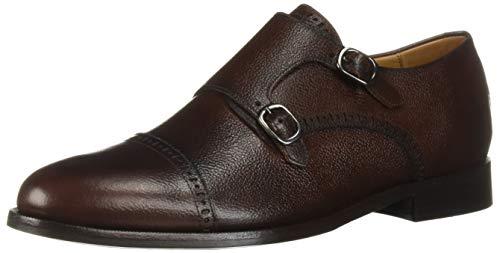 MARC JOSEPH NEW YORK Mens Leather Double Monk Dress Shoe Oxford, Whiskey Grainy, 8.5 M US