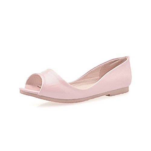 Amoonyfashion Femmes Matériau Doux Pull-on Peep Toe Talons Bas Sandales Solides Rose