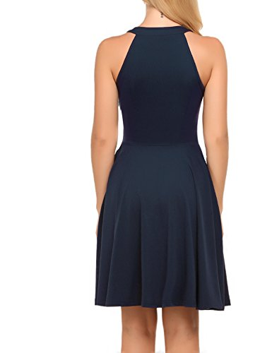 Casual Dress ACEVOG Blue Navy Women's Sleeveless Flare FEwqfTp