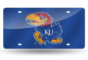 Kansas Jayhawks License Plate Tag in Royal - In Kansas Outlets