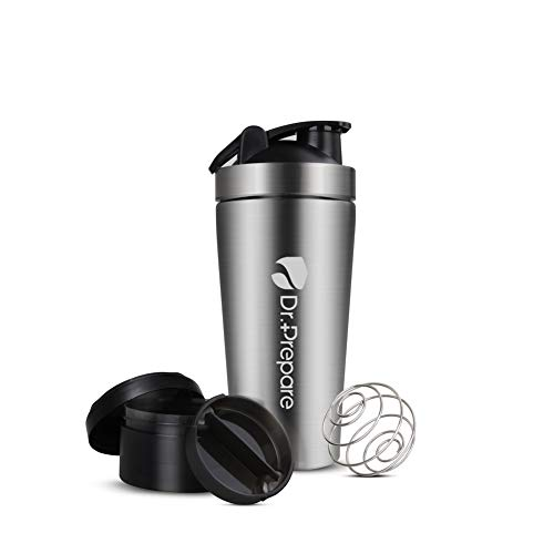 Dr. Prepare Stainless-Steel Protein Shaker Bottle Sports Water Bottle, Silver, 25 Ounce