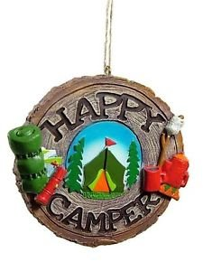 Happy Campers made our list of the most unique camping Christmas tree ornaments to decorate your RV trailer Christmas tree with whimsical camping themed Christmas ornaments!
