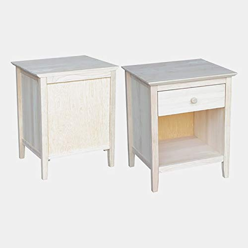 Rubberwood End Table with 1 Shelf - End Table with Nightstand Drawer - Natural