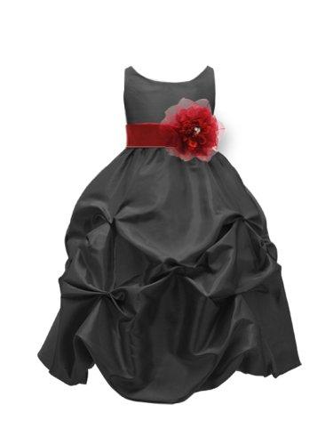 WonderfulDress Black Taffeta Bubble Flower Girl DressPICK YOUR SASH-Black/Red-12 (Taffeta Bubble Red)