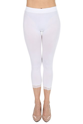 Cropped Capri Leggings with Lace Trim by F&F - Stretchy, Lightweight Tights (One Size, White)