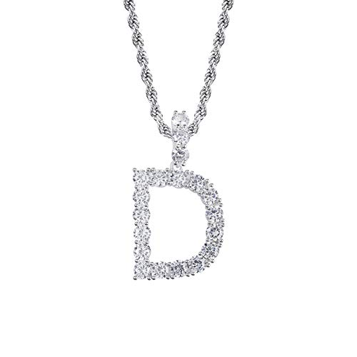 - GUCY Hip Hop Jewelry Tennis Letters Pendant Chain Iced Out CZ Lab Diamond Letter Chains Custom Necklace Name for Men Women(Silver D, 24)