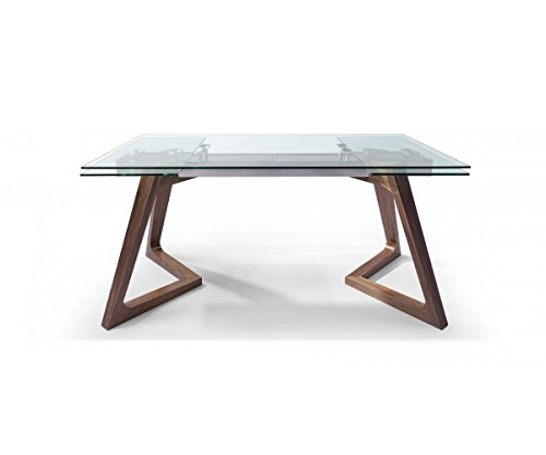 World Mod DT1276-WLT Modern Delta Extendable Dining Table, 63/95L x 35W x 30H in in, Walnut