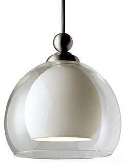 Progress Lighting P6135-09W 12 Volt Low Voltage T4 Mini-Pendant with White Glass Surrounded By Clear Glass, Brushed Nickel - Brushed Nickel Mini Dome Pendant