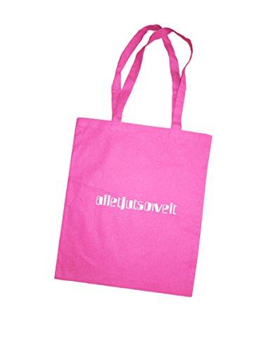 Jutebeutel bedruckt mit Berliner Spruch - alletjutsoweit - / Stoffbeutel / Jute Beutel / Einkaufsbeutel Baumwolle mit Sprüchen von SPREE Klamotte Berlin - Statement Sprüche Tasche - blau pink