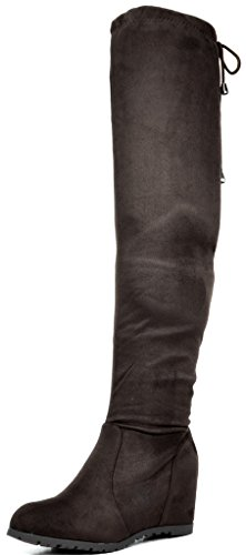 Faux Fur Platform Knee Boots - DREAM PAIRS Women's Leggy Brown Faux Suede Over The Knee Thigh High Boots - 10 M US