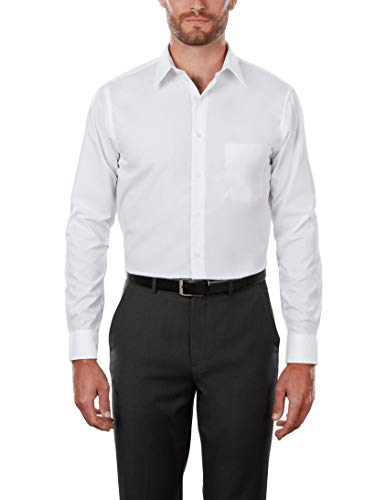 "Van Heusen Men's Poplin Regular Fit Solid Point Collar Dress Shirt, White, 17.5"" Neck 34"