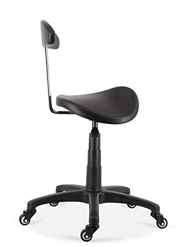 DEYI Two Part Saddle Seat Stool with Backrest, Black Polyurethane seat with a Groove, No Tilt Options Suitable for Doctors, Dentists, Surgeons, Hairdressers, Tattoo Artists Plus More! by DEYI (Image #3)
