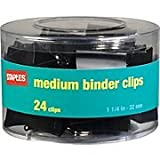 "Staples® Binder Clips, Medium, 1 1/4"" Size, 5/8"" Capacity, Black, 24/Pk"
