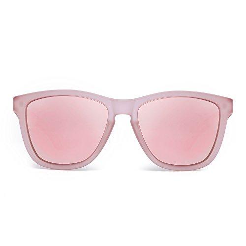 JIM HALO Retro Polarized Sunglasses for Women Men Vintage Square Mirror Glasses (Transparent Pink/Polarized Mirror Pink) ()
