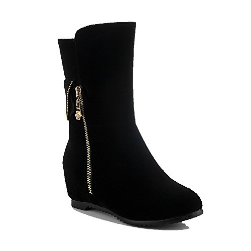 VogueZone009 Women's Frosted Pull On Round Closed Toe Kitten Heels Solid Boots, Black, 36 ()