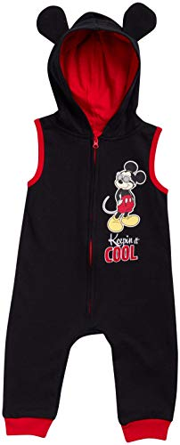 Disney Baby Boys' Mickey Mouse Sleeveless Hooded Romper Jumpsuit, Size 3-6 Months, Black-Red' (Baby Knit Mickey Outfits)