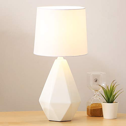 SOTTAE Modern Ceramic Small White Irregular Geometric Livingroom Bedroom Bedside Table Lamp, Desk Lamp with White Fabric - Bedroom Table Small For Lamps