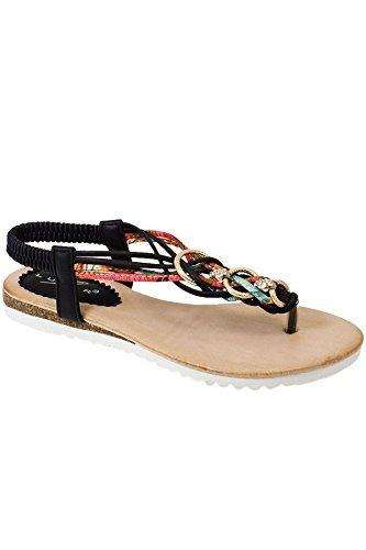 Sapphire TIENDA jlh792 Cielo Mujer Múltiple Cadena De Diamante Giro Tira Para Dedo Zapatos Cómodos Sandalias Negro