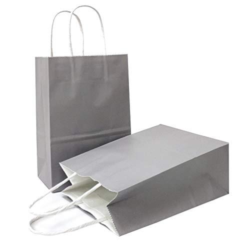 AZOWA Gift Bags Mini Small Kraft Paper Bags with Handles (4 x 2.4 x 6 in, Grey, 12 Pcs)
