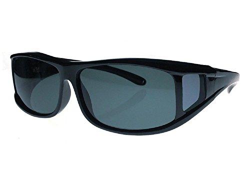 Men and Women Polarized Fit Over Lens Cover Sunglasses - Italian Black/Black - Sunglasses Cover