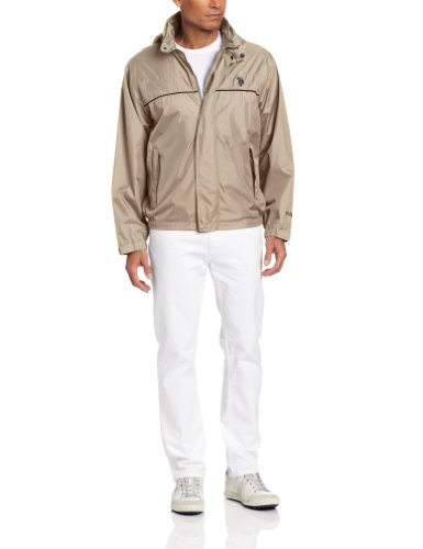 U.S. Polo Assn. Men's Core Windbreaker With Piping, Thompson Khaki, X-Large