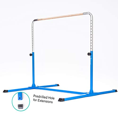 - PreGymnastic Expandable Gymnastics Kip Bar with Predrilled Hole for Extensions, Adjustable Height 3'-5' Junior PRO Gymnastics Training Bar (Light Blue)