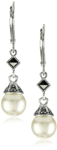 [Judith Jack Sterling Silver Marcasite and Simulated Pearl Drop Earrings] (Judith Jack Marcasite)