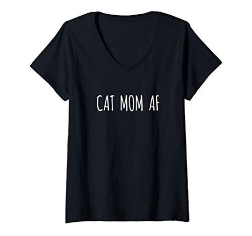 Womens Cat Mom AF Shirt Best Mom Ever Tee Shirt T-Shirt Cats Gifts V-Neck T-Shirt