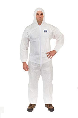 Body Filter 95+ Disposable Coverall Suits (White) | Breathable Cool Material - Professional Protective Body Suit for Dust, Spray, Paint, Insulation, and More (L, Attached Hood, Elastic Wrist & Ankle)