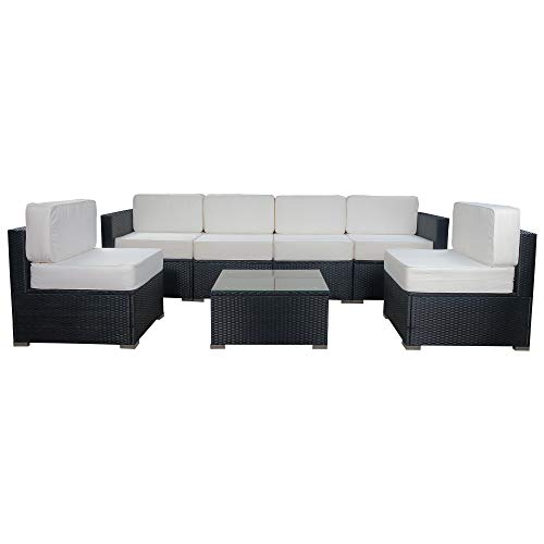 Mcombo Patio Furniture Sectional Set Outdoor Wicker Sofa Lawn Rattan Conversation Chair with 6 Inch Cushions and Tea Table(Cream White) 6082-7PC