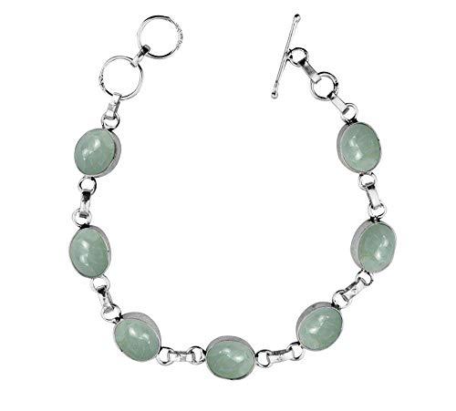 Genuine Gemstone Oval Shape 925 Silver Overlay Handmade Link Bracelet Jewelry