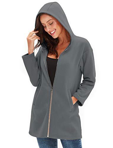 Amazhiyu Womens Zip up Hoodie Jacket Pocket Basic Long Sleeve Hoodie Tunic Casual Sweatshirts Coat (Dark Grey, X-Large)