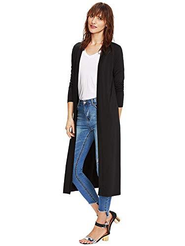 (Verdusa Women's Long Sleeve Open Front Long Maxi Cardigan Longline Duster Coat Black M)