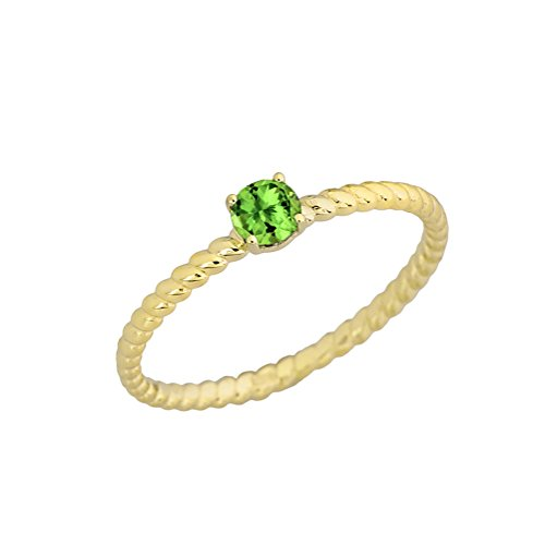 Dainty 10k Yellow Gold Stackable Peridot Solitaire Rope Engagement/Promise Ring
