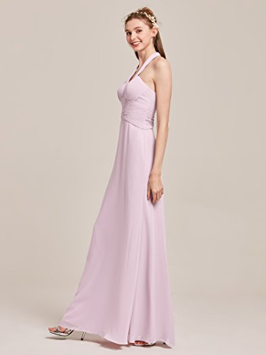 Bridesmaid Dark Long V Alicepub Neck Dresses Formal Chiffon Halter for Navy Maxi Women q6cRwntO