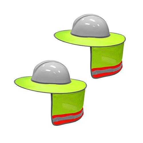 XIAKE 2 Pack Hard Hat Sun Shield Full Brim Mesh Neck Sunshade with Reflective Strips,High Visibility Yellow ()