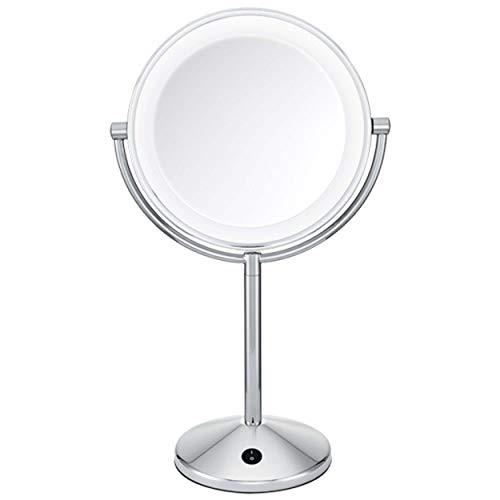 BaByliss 9436E Espejo de maquillaje, doble cara, aumento x1 y x10, iluminacion LED, funcionamiento con pilas, color cromado