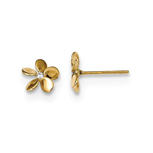 14k Yellow Gold Cubic Zirconia Cz Flower Post Stud Earrings Ball Button Gardening Fine Jewelry Gifts For Women For Her