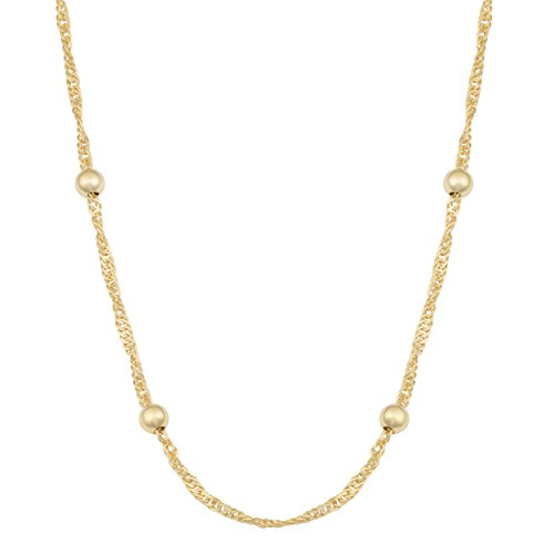 Yellow Gold Plated Silver 4mm Bead Station Singapore Chain Necklace (30 inch) ()