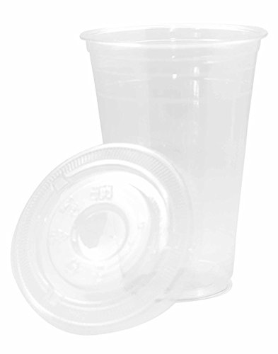 [1000 SETS] 20oz Clear Plastic Disposable Cups with Flat Lids- Large Premium 20 oz (ounces) Crystal Clear PET Cup for Cold Drinks Iced Coffee Tea Juices Smoothies Soda Cocktails Beer Sundae Kids Safe]()