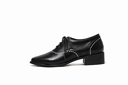 Latasa Mujeres Square-toe Chunky Heel Oxford Zapatos Black