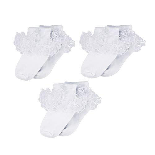 Infant Baby Girls Baptism Christening White Ruffle Cotton Frilly Embroidered Cross Socks 3 Pack, 0-6 Months ()