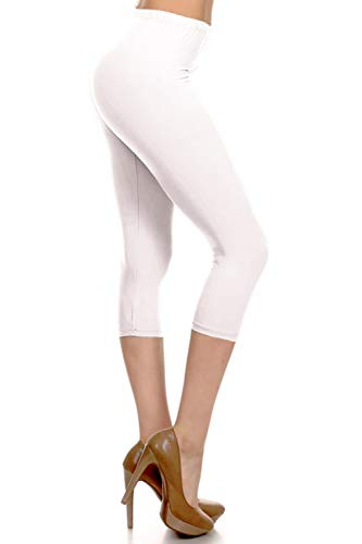 NCPR128-White Capri Solid Leggings, One -