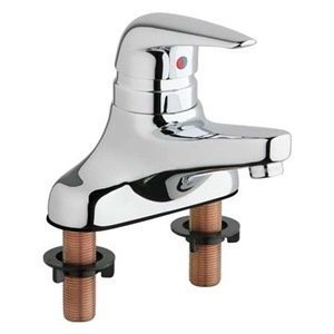 Chicago Faucets 420-ABCP Single Lever Hot and Cold Water Mixing Sink Faucet Lead Free ()
