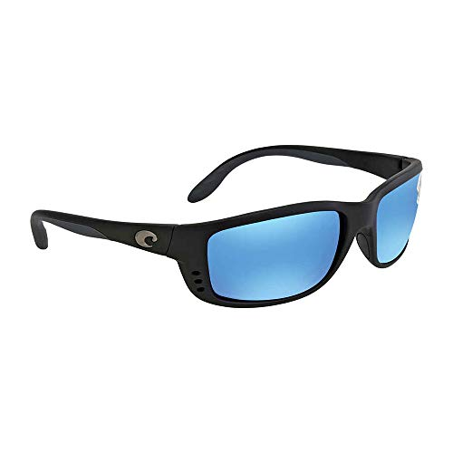 Costa Del Mar Zane Polarized Sunglasses, Black, Blue Mirror ()