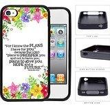 Jeremiah 29:11 Religious Bible Verse Colorful Flower Borders [iPhone 4 4s] Rubber Silicone TPU Cell Phone Case
