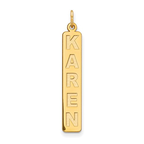 Bar Pendant 14kt Gold Jewelry - ICE CARATS 14kt Yellow Gold Vertical Nameplate Flyer Pg. 4 Necklace Pendant Charm Name Plate Bar Block Fine Jewelry Ideal Gifts For Women Gift Set From Heart