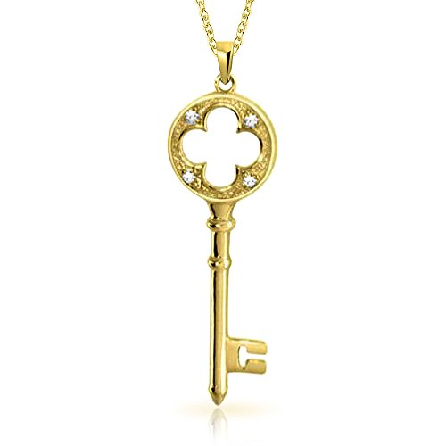 Open Clover CZ Key Pendant Gold Plated Necklace 18 Inches