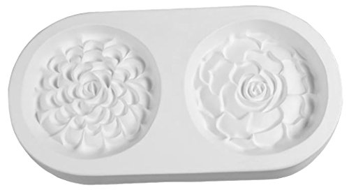 for The Love of Succulents - Double Round Succulent Group - Fusible Glass Frit Casting Mold ()